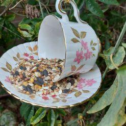 Vintage pink flowers teacup bird feeder