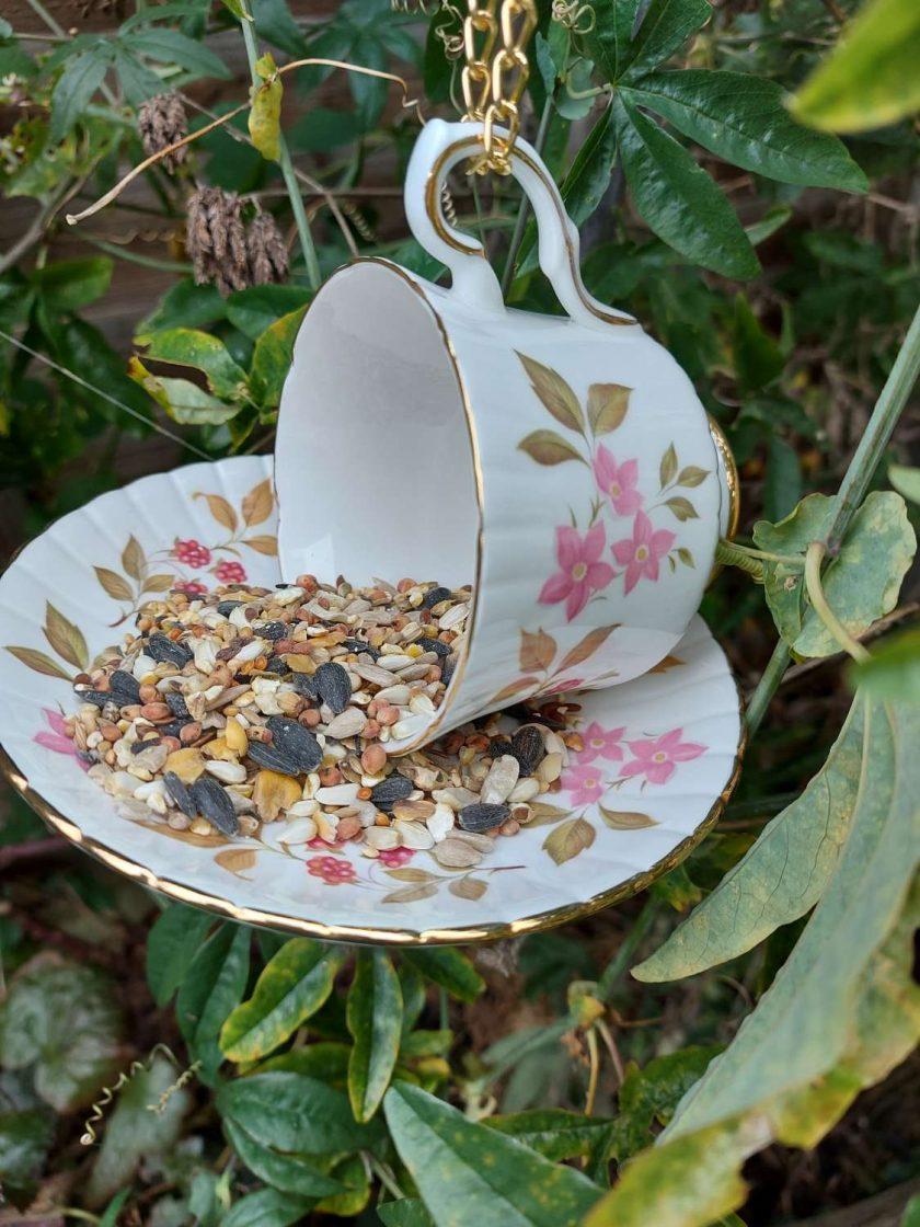 Vintage pink flowers teacup bird feeder 1