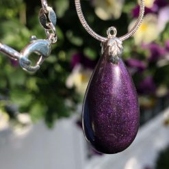 Unique handmade smooth purple teardrop pendant on solid silver chain