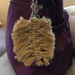 Feather Macrame Leaf Bag Charm / Keyring choice of colours 11