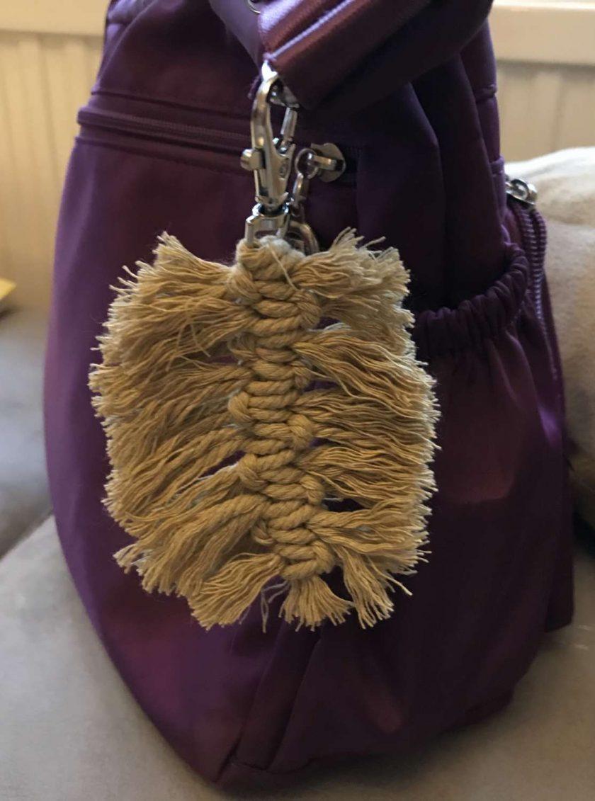 Feather Macrame Leaf Bag Charm / Keyring choice of colours 6