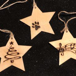 Pyrography Personalised Christmas Decoration