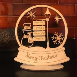 Personalised snow globe with snowman