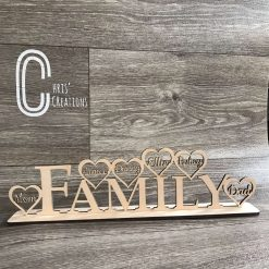 Wooden free standing family sign