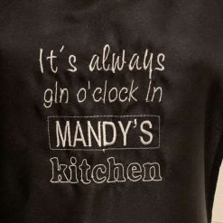 Personalised Embroidered Gin O'Clock Apron 1