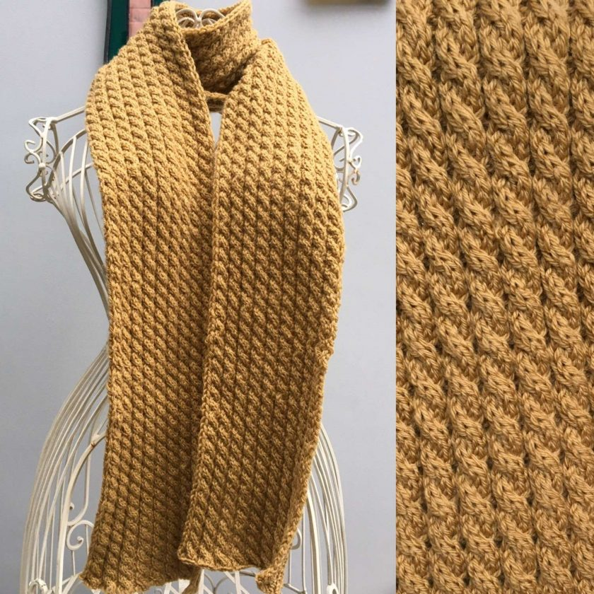 Scarf Cabled in Yellow 1