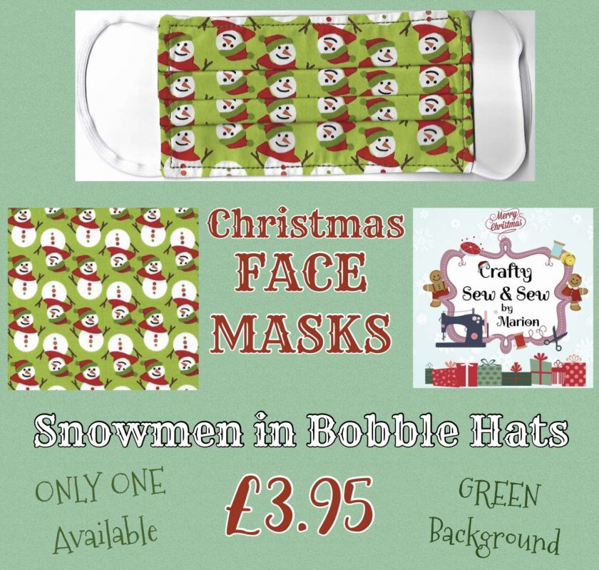 'PPE' Style FACE MASK (Eco-Friendly) ☃️ CHRISTMAS ☃️ Snowmen in Bobble Hats Design (Green) ☃️ Washable & Reusable ☃️ ONE Adult Size ONLY 1