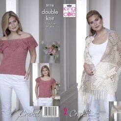 King Cole - Crochet Pattern - Wrap & Off the Shoulder Top