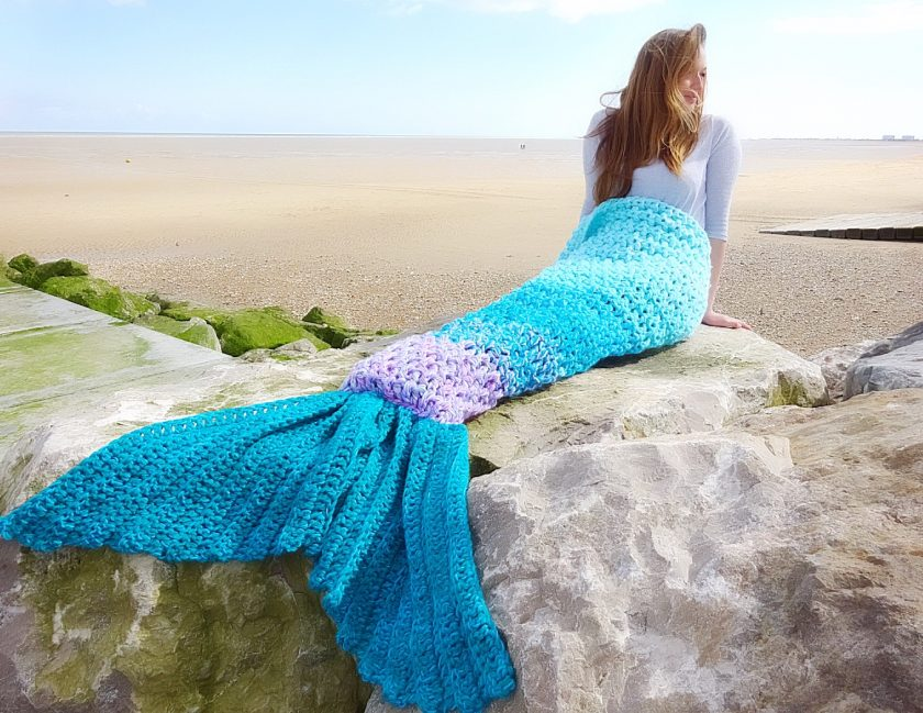 Crochet Mermaid Tail Blanket Chunky Cosy Snuggle Sack in Baby, Child and Adult sizes. Valentines gift for women, girls Handmade in UK 1