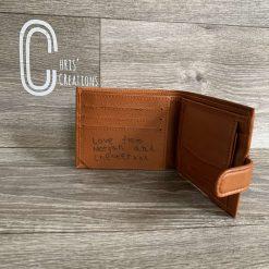 Laser engraved personalised wallet 1