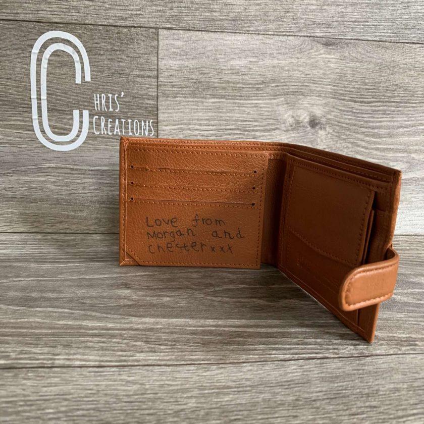 Laser engraved personalised wallet