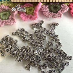 10 x motorbike Tibetan silver charms 2.5cm