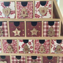 wooden Christmas tree advent calendar / red / fee p.p 13