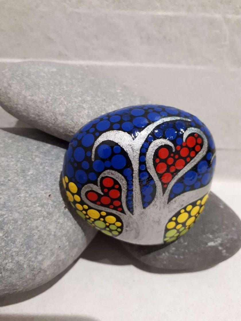 Hand painted tree of life pebble 'Summer' 1