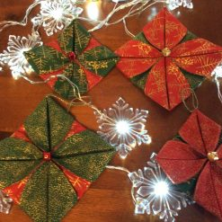 Handmade Christmas fabric decoration set of 4