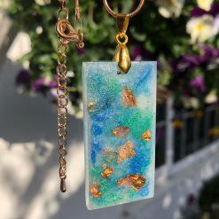 Unique handmade gorgeous blue rectangular on gold coloured chain