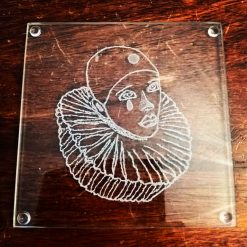 Engrave Pierrot Glass Coasters 7