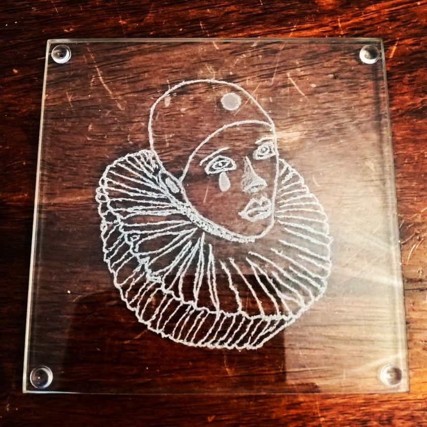 Engrave Pierrot Glass Coasters 3