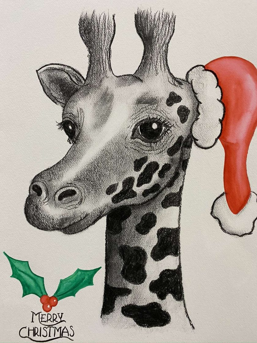 Santa Giraffe Christmas Artwork 1