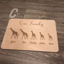Wooden engraved our family A4 plaques