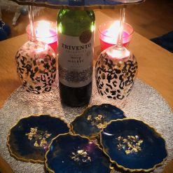 Blue and gold agate resin coaster set (x4) with wine butler 8