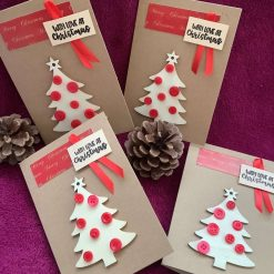 Pack of 4 wooden Christmas tree and button Christmas cards. Free UK delivery.