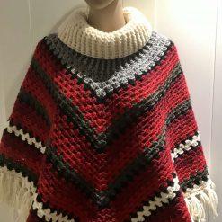 Christmas poncho - 100% wool 8