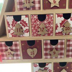 wooden Christmas tree advent calendar / red / fee p.p 10
