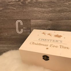 Personalised wooden Christmas Eve Box with Santa's Sleigh