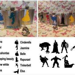 Personalised Hip Flask with Funnel 6oz Disney or Marvel Superhero
