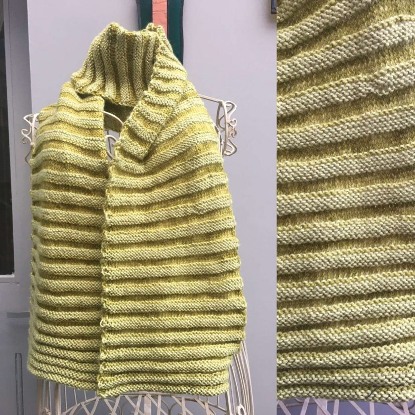 Scarf ridged in lime green 1