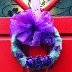 Ribbon Christmas Wreath Silver & Purple