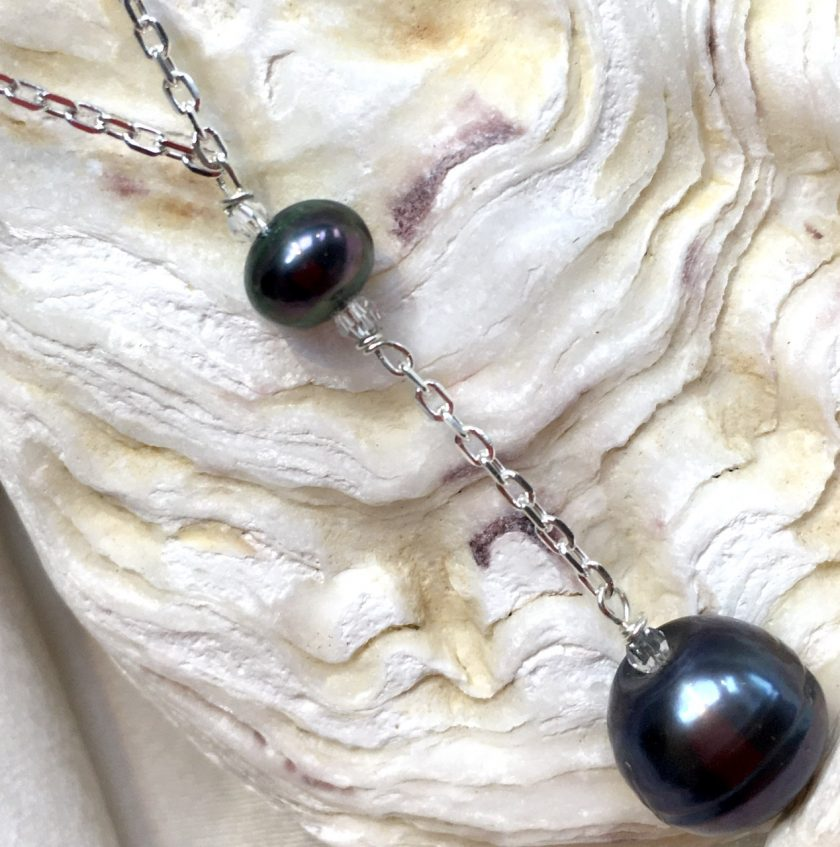 Black pearl Y necklace, large black pearl droplet, large black pendant, birthday gift for her, gothic style necklace, steampunk junkie 6