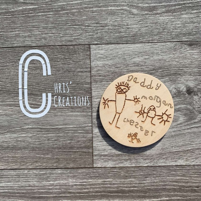 Wooden coasters with your own child's artwork engraved onto them