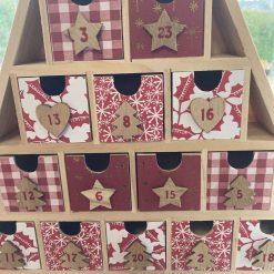 wooden Christmas tree advent calendar / red / fee p.p 8