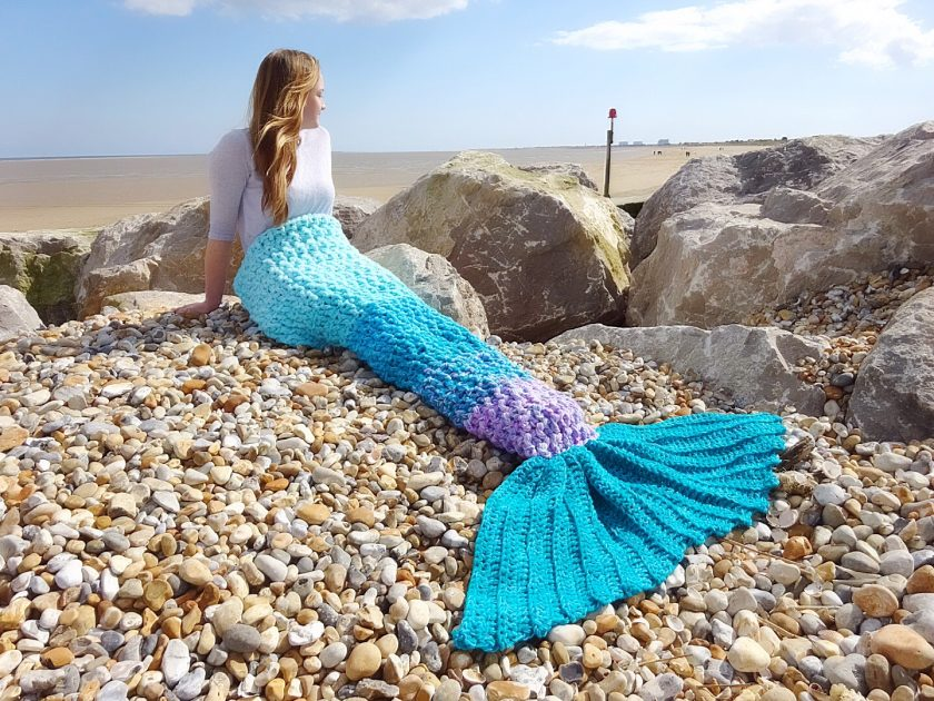 Crochet Mermaid Tail Blanket Chunky Cosy Snuggle Sack in Baby, Child and Adult sizes. Valentines gift for women, girls Handmade in UK 5