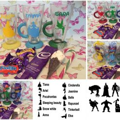 Personalised Glitter Hot chocolate mug with contents Disney/Marvel themed