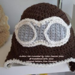 Crocheted Aviator Hat - Newborn to Adult Sizes Available - Made to Order