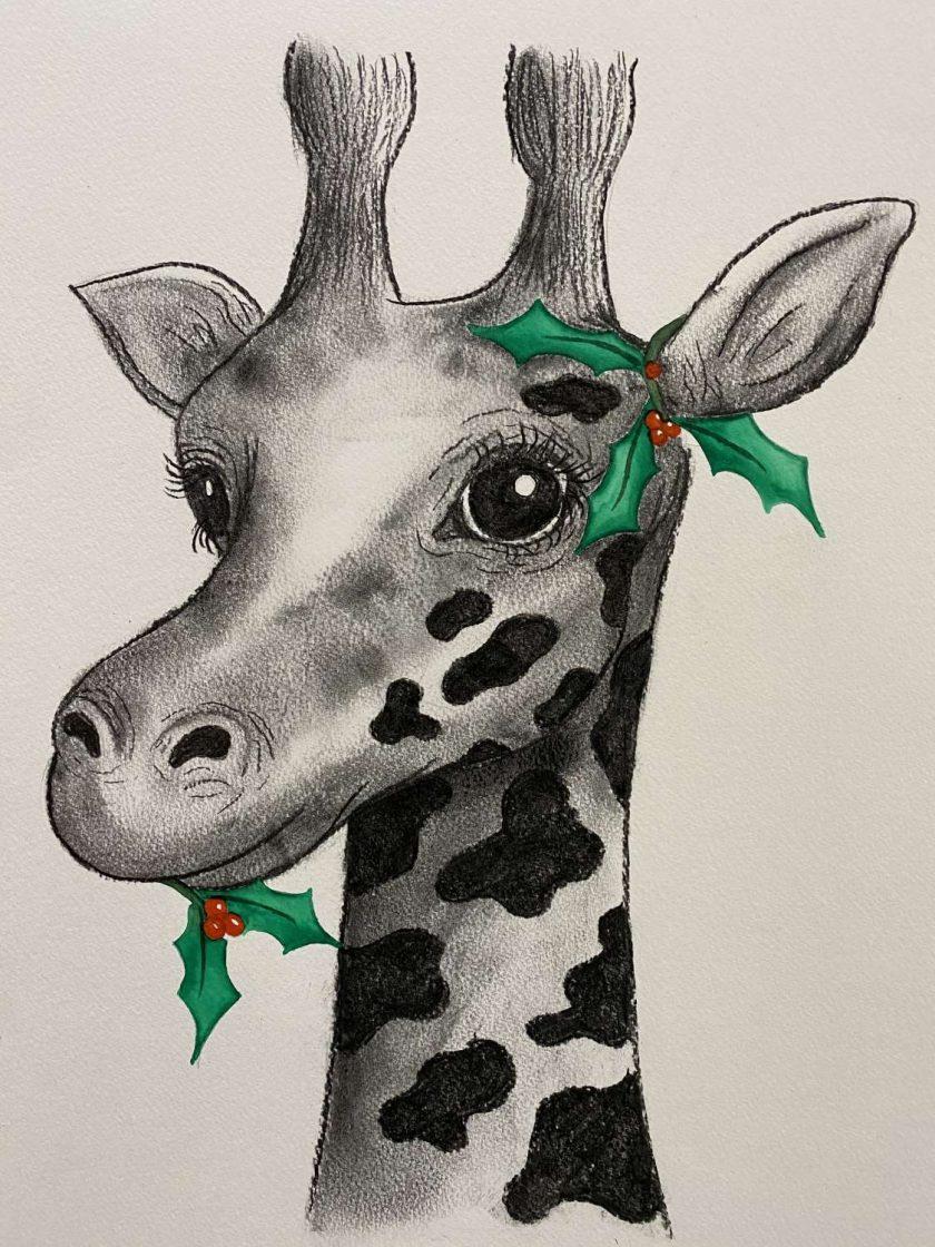 Holly Giraffe Christmas Artwork 1