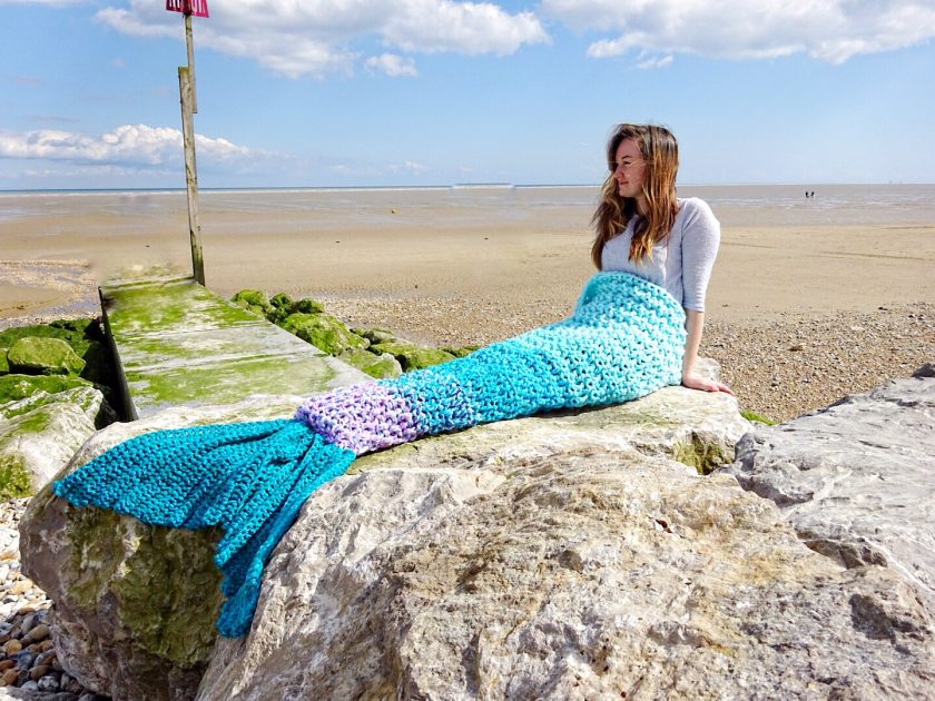 Crochet Mermaid Tail Blanket Chunky Cosy Snuggle Sack in Baby, Child and Adult sizes. Valentines gift for women, girls Handmade in UK 4