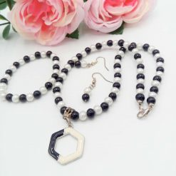 Black and White Pearl Jewellery Set with Enamel Pendant, Christmas Gift, Gift for Her,  Stocking Filler 8