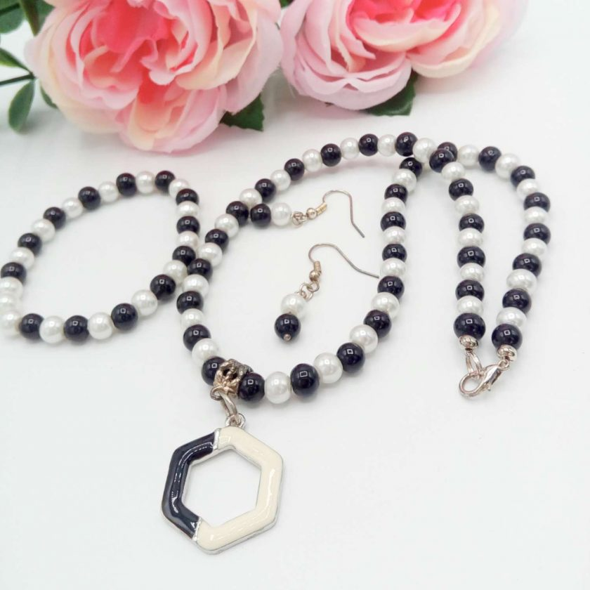 Black and White Pearl Jewellery Set with Enamel Pendant, Christmas Gift, Gift for Her,  Stocking Filler 1