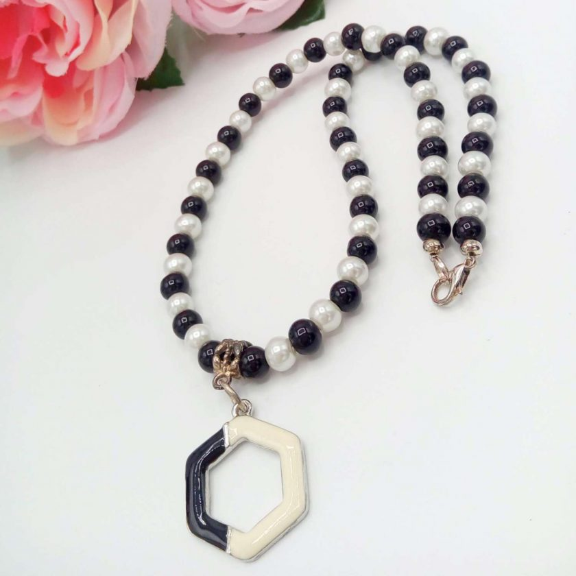 Black and White Pearl Jewellery Set with Enamel Pendant, Christmas Gift, Gift for Her,  Stocking Filler 3