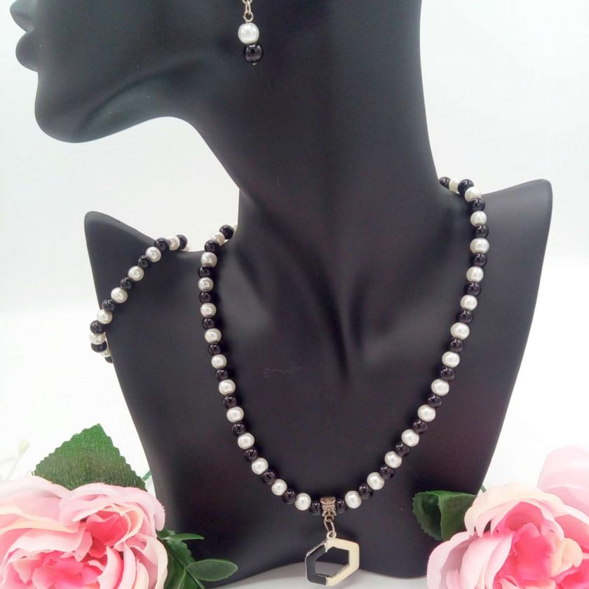 Black and White Pearl Jewellery Set with Enamel Pendant, Christmas Gift, Gift for Her,  Stocking Filler 6