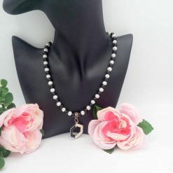 Black and White Pearl Jewellery Set with Enamel Pendant, Christmas Gift, Gift for Her,  Stocking Filler 13