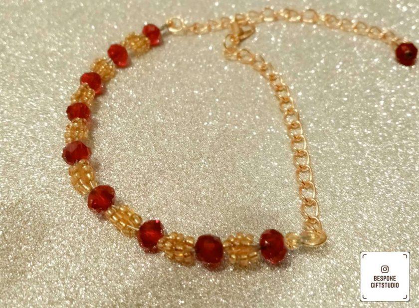 Claret and gold bead bracelet 1