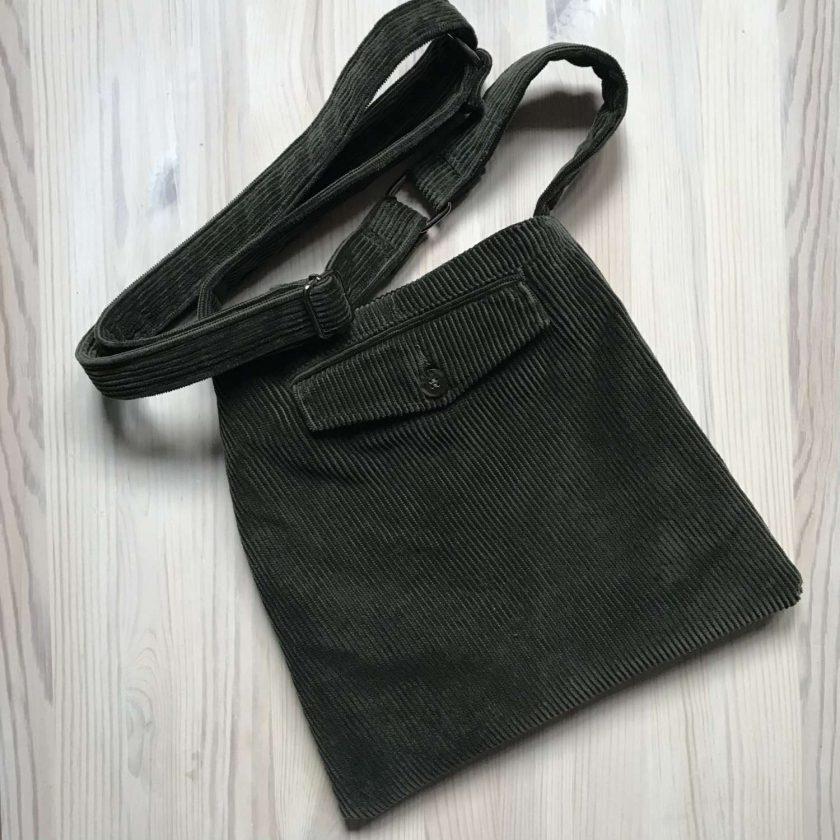 Upcycled Green Corduroy Bag 3