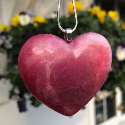 Unique handmade pink/red heart pendant on solid silver chain