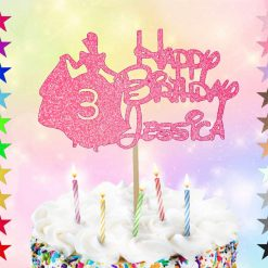 Personalised Disney Themed Cinderella Birthday Cake Topper Single Sided Glitter