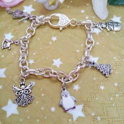 Bracelet with 6 Christmas Themed Charms on a Silver Plated Chain, Christmas Jewellery